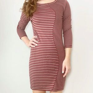 Fitted Striped Dress 3/4 Sleeve Chelsea & Violet